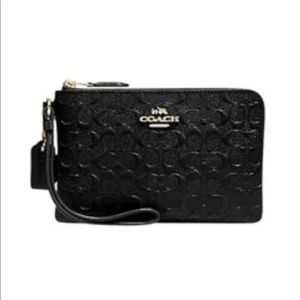 New Coach Black Embossed Leather Wrislet With Box